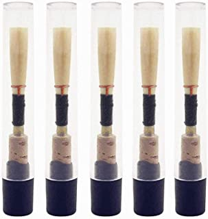 Jiayouy 5Pcs Oboe Reeds Medium Soft Oboe Reed with Plastic Storage Case/Tube Woodwind Instrument Accessories Black