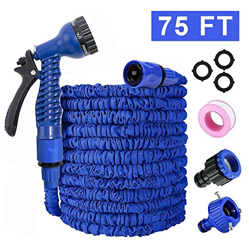 Flexible Manguera de jardín, Manguera Estirable Manguera de Agua Tubo Riego con la Presión, Manguera con 8 funciones Pistola Pulverizadora para riego de jardín, lavado de autos, Azul (75FT, Blue)