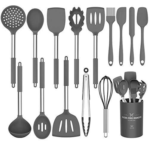 Umite Chef Juego de utensilios de cocina, 15 piezas de silicona de cocina, utensilios de cocina, pinzas para espátula, cuchara antiadherente, resistente al calor, (gris)