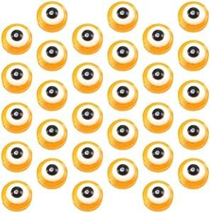 ABOOFAN 100 Piezas Redondas de Ojo Malvado Hecho a Mano de Cristal de Murano Cuentas Encantos Espaciadores para Pulseras Collar Fabricación de Joyas Naranja