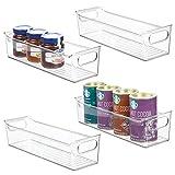 mDesign Slim Plastic Kitchen Pantry Cabinet, Refrigerator or Freezer Food Storage Bin with Handles - Organizer for Fruit, Yogurt, Snacks, Pasta - BPA Free, 14' Long, 4 Pack - Clear