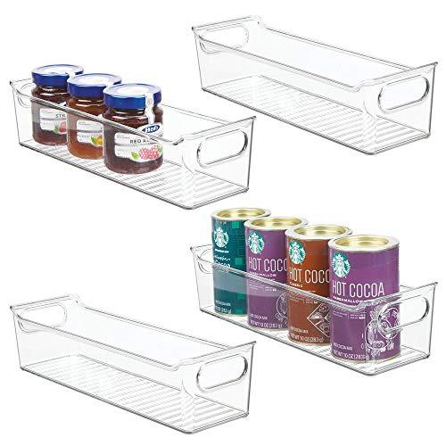 "mDesign Slim Plastic Kitchen Pantry Cabinet, Refrigerator or Freezer Food Storage Bin with Handles - Organizer for Fruit, Yogurt, Snacks, Pasta - BPA Free, 14"" Long, 4 Pack - Clear"
