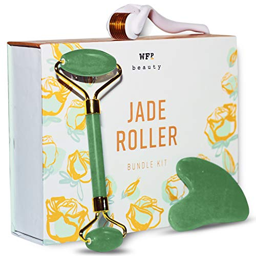 Jade Roller + Gua Sha Tool + Derma Roller 0.25mm Titanium Micro Needles - Promotes Brighter, Smoother Skin - Supports Increased Lymphatic Drainage, Blood Circulation & Serum Absorption