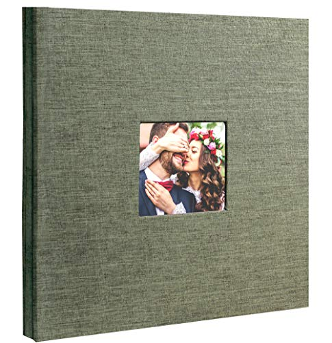 Beautyus Self Adhesive Stick Photo Album Magnetic Scrapbook DIY Anniversary Memory Book for baby Wedding Family Albums Holds 3x5, 4x6, 5x7, 6x8, 8x10 Photos (Green, M)
