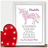 Personalised Will You Be Our Flower Girl Unicorn Poem Bridesmaid Wedding Gifts - Will You Be Presents for Wedding Party - A5, A4, A3 Prints and Frames