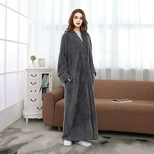 KNNEFE- Longue Section Peignoir Automne et Hiver Zipper Ananas Plaid Plus Grosse Robe Femmes Pyjamas en Flanelle Home Service (Color : Gray, Size : M)