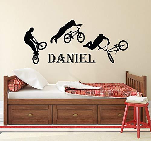 tiener jongens naam decal BMX vrije stijl springen fiets Vinyl muur Sticker aangepast gepersonaliseerd naam kinderen tieners jongens kamer Decor deca 48x114cm