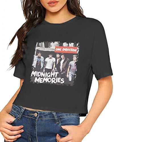 One Direction Midnight Memories T-Shirt Womens Crop Top Short Sleeves Lumbar T Shirt Tops Black