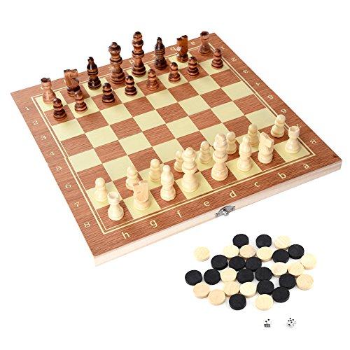 Juego de Ajedrez 3 en 1 - Damas Backgammon Dados Tablero de Ajedrez Plegable Estándar...