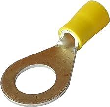 Aerzetix: 10 kabelschoenen elektroplatte hulzen oog oog M10 Ø10.5mm 2.5-6mm2 geel geïsoleerd
