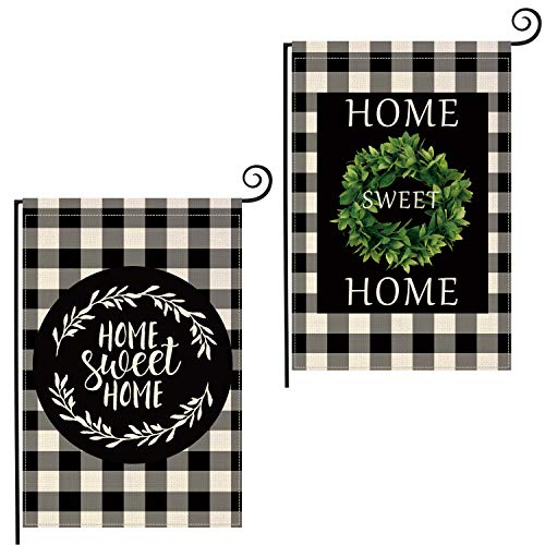 Lifesmells Boxwood Wreath Welcome Home Sweet Home Garden Flag Vertical Double Sided, Buffalo Check Plaid Rustic Farmhouse Burlap Flag Yard Outdoor Decoration 12.5 x 18