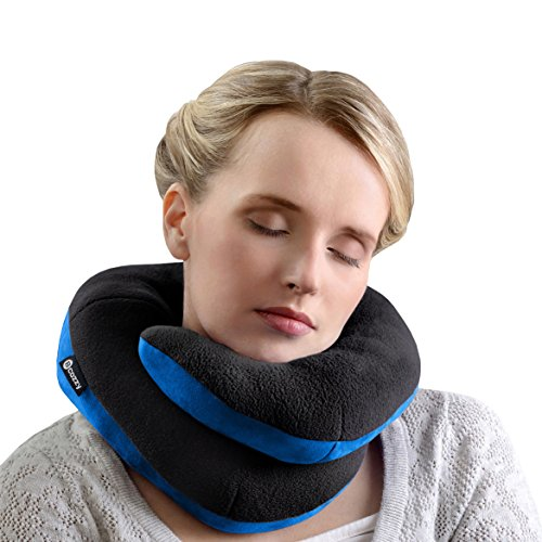 BCOZZY Kinn-stützendes Reisekissen – Kein nach vorne Kippen des Kopfes mehr – Stützt bequem Kopf, Hals und Kinn in jeder Sitzposition. EIN patentiertes Produkt. Erwachsenengröße, Schwarz