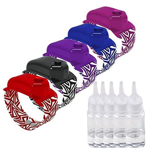 Benficial 5PC Hand Sanitizer Dispensing Portable Bracelet Wristband Hand Dispenser 10ML