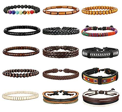 Milacolato 8-15Pcs Men Leather Bracelets Hemp Cords Wood Beads Ethnic Tribal Bracelets Leather Wristbands