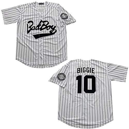 Rainbow Hawk Mens Bad Boy 10 Biggie Smalls Jersey The Notorious Movie Baseball Jerseys (White, L)