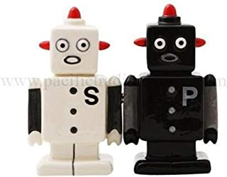 Ky & Co YesKela Magnetic Robot Salt and Pepper Shakers Ceramic Kitchen Decor Collectible