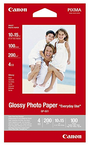 Canon Fotopapier, 100 Blatt 10 x 15, Glänzend, Glossy Photo Paper Everyday 200g, A6 10x15, GP501