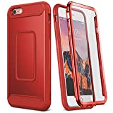 YOUMAKER Case for iPhone 6S Plus, Full Body with Built-in Screen Protector Heavy Duty Protection Shockproof Case Cover for Apple iPhone 6S Plus (2015) / 6 Plus (2014) 5.5 inch - Red/Red