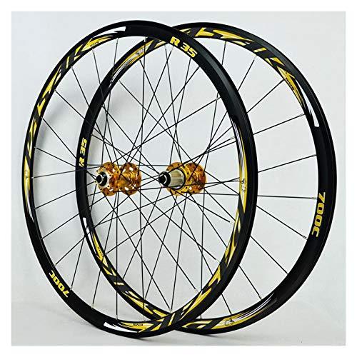 ZCXBHD 700C Scheibenbremse Rennrad Laufradsatz Cyclocross Doppelwandig 30mm Legierung Räder V/C Bremse Schnellspanner 7/8/9/10/11 Fach 1700G (Color : Yellow)