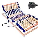 elektrischer Lattenrost 100% BUCHE - Kopf- u. Fußteil elektrisch verstellbar - SCHULTERFRÄSUNG, 7 Zonen, 44 Federleisten, Härteregulierung, Mittelgurt - MOTOR COMFORT 44® - fertig montiert (90x200)