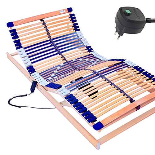 elektrischer Lattenrost 100% BUCHE - Kopf- u. Fußteil elektrisch verstellbar - SCHULTERFRÄSUNG, 7 Zonen, 44 Federleisten, Härteregulierung, Mittelgurt - MOTOR COMFORT 44® - fertig montiert (90x190)