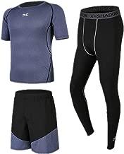 Huangxiaofang Trainingskleidung für Herren Laufen Shorts Compression Leggings 3 Stück Herren Fitness Kleidung Set Mit Kurzarm für Radfahren Laufen Gym Fitness (Color : Black Blue, Size : L)