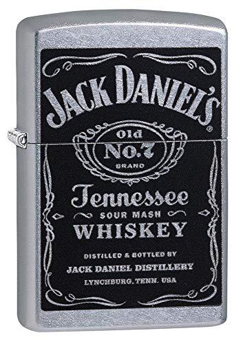 Zippo Jack Daniel's Tennessee Whiskey Label Street Chrome Pocket Lighter, 5 1/2 x 3 1/2 cm