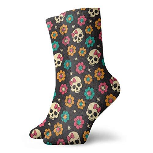 BJAMAJ Unisex Socken Totenköpfe & Blumen Interessante Polyester Crew Socken Erwachsene Socken Baumwolle