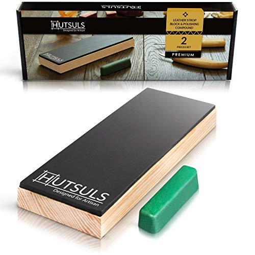 Hutsuls Leather Strop Block with Compound - Get Razor-Sharp Edges with Knife Strop Kit, Easy to Use Quality Non-Slip Leather Stropping Block & Leather Honing Strop Step-by-Step Guide Included