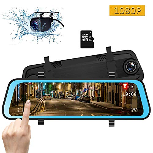 CAMONS 10 Inch Mirror Dash Cam, Dual Lens IPS Touch Screen Rear View Mirror Camera with 1080P 170° Front and 150° Night Vision Waterproof Backup Camera with LDWS, WDR, G-Sensor(32GB SD Card Included)