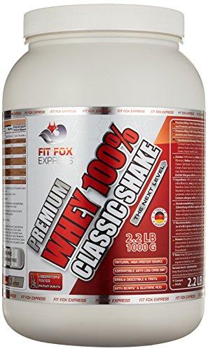 Fit Fox Express Premium Whey 100% Protein (Eiweißshake, Molkenprotein mit Dosierlöffel) Classic Straciatella Cream, 1er Pack (1 x 1 kg), 1000 g Dose
