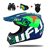 Casco di Motocross Stile UFO Casco da Cross Moto Set con Occhiali Maschera Guanti, Uomini Donne Caschi Integrali Moto off-Road Enduro Downhill Casco ATV MTB BMX Quad Casco da Motociclista,XL