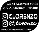 CrisPhy Set di x4 Adesivi in Vinile con Il Tuo Profilo Instagram – Bici, Casco, Racchetta da Paddle, Skateboard, Auto, Moto, ECC (Pack Font 2)