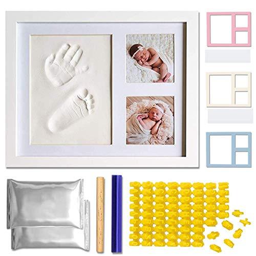 AWEMOZ® - Marco de fotos para bebé, diseño de mano y pie, regalo de maternidad, collage 3D… (L)