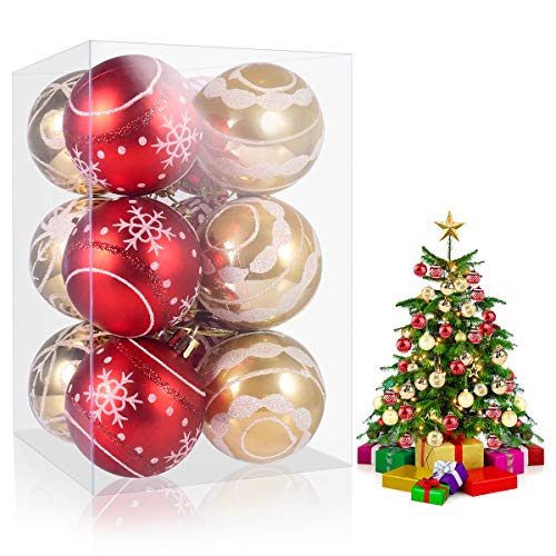 MiToo Christmas Ornament Balls, 12pcs Christmas Balls Decoration Set, Christmas Balls Ornaments for Holiday Christmas Wedding Party Decoration