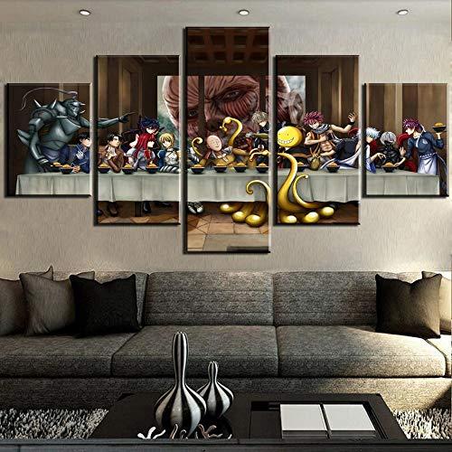 Not applicable Bilder 5-teilig Leinwandbilder Letzte Abendmahl Anime United Home Decor Poster Klassische Wandmalerei Druck auf mit Rahmenlos PANDAFF