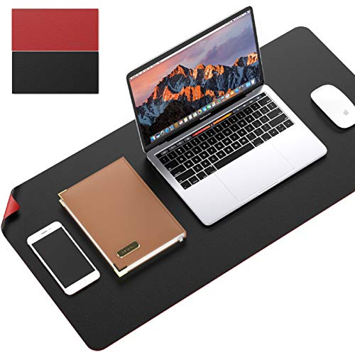 """LezGo Office Desk Mat, Non-Slip Mouse Pad, Dual Sided PU Leather Desk Pad, Waterproof Desk Writing Mat, Laptop Desk Pad, Multifunctional Mouse Pad for Office/Home (Black/Red, 31.5"""" x 15.7"""")"""