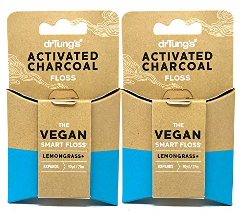 DrTung's Vegan Activated Charcoal Floss, Natural Lemongrass Flavor Dental Floss (Pack of 2)