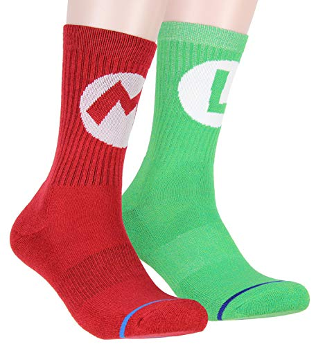 Nintendo Super Mario Adult Mario And Luigi Character Costume 2 Pair Crew Socks For Men Women