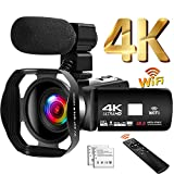 Camcorder 4K 48MP Video Camera 18X WiFi YouTube Camera IR Night Vision Camcorder with Upgraded Remote Control, External Microphone and Lens Hood