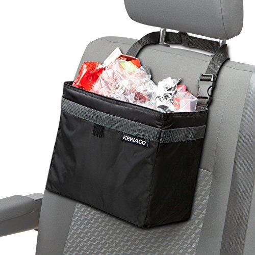 Kewago Auto-Mülleimer und Abfall-Tasche Kühltasche für unterwegs | Auslaufsicher mit Schnellverschluss für die Kopfstütze