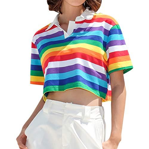 TWIFER Sommer T Shirt Frauen Drehen-Unten Kragen Kurzarm Regenbogen Gestreiften Druck Kurze Crop Top