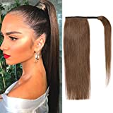 Ponytail Hair Extension 100% Real Remy Human Hair Wrap Around Clip in Hair