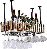 NYDZDM - Estante de metal y madera para botellas con almacenamiento de vidrio para decoración del hogar, cocina, estante de almacenamiento con lámpara LED (tamaño: 100 cm)
