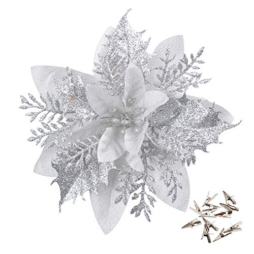 GL-Turelfies 12 Pcs Glitter Christmas Flowers(15cm/5.9'') with 12 Pcs Clips Artificial Poinsettia Flowers Christmas Tree Flower Decorations Xmas Tree Ornaments (Silver)