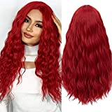 Wiwige Red Wig Long Curly Wavy Middle Part Wigs for Women Synthetic Natural Looking Party Halloween Cosplay Wig 25'