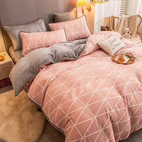 grey kingsize duvet cover sets-Winter flannel cotton plus velvet ab side single quilt cover bedding milk velvet single bed single pillowcase gift-G_1.8m bed (4 pieces)