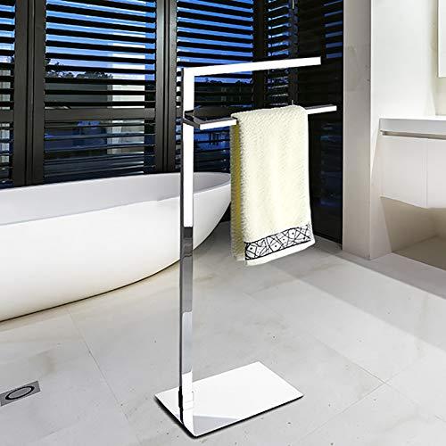 Toallero Doble de Pedestal con Forma de 7', Soporte para Toallas, Alto Y Bajo, Moderno, de Cobre, con Soporte para Toallas de Baño Y de Mano, Toallitas