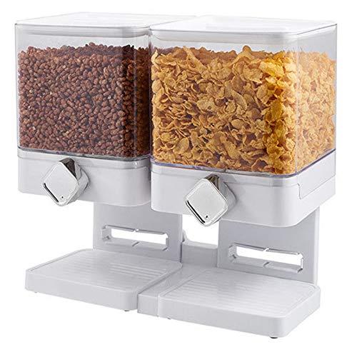 TOOGOO Recipiente de Alimentos Secos Snack Dispensador de Cereales Ahorro de Espacio en el Hogar Hogar Fresco Contenedor de Almacenamiento Doble Multifuncional Grande