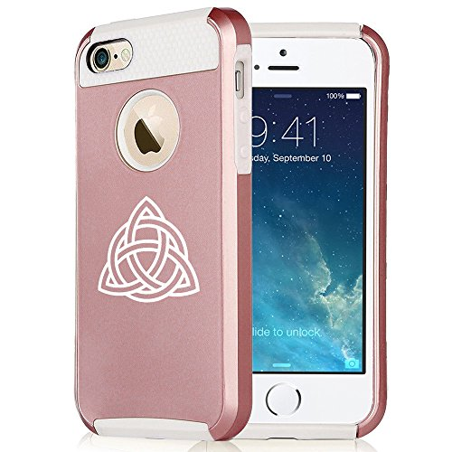 For Apple iPhone 7 Shockproof Impact Hard Soft Case Cover Triquetra Symbol Celtic Knot (Rose Gold-White)